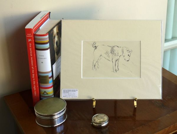 Terrier - outline, looking down 1930's print by Lucy Dawson